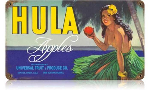 Retro Hula Apples Metal Sign 14 x 8 Inches