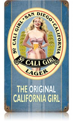 Vintage So Cali Girl Metal Sign 12 x 18 Inches