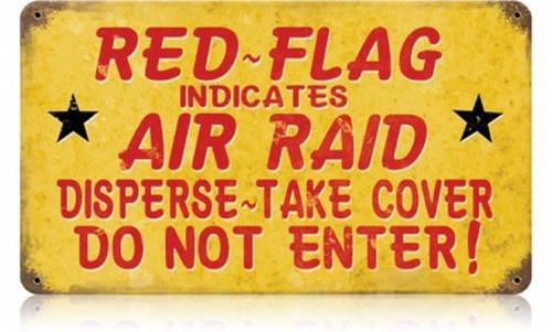 Retro Red Flag Air Raid Metal Sign 14 x 8 Inches