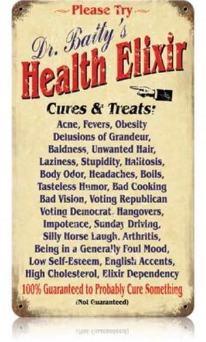 Vintage Dr Batty Elixir Metal Sign 8 x 14 Inches