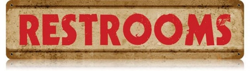 Retro Restrooms Metal Sign 20 x 5 Inches