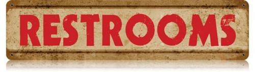 Retro Restrooms Metal Sign 20 x 5 Inches
