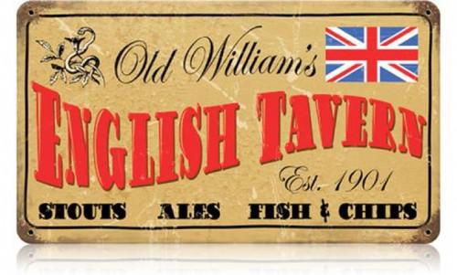 Retro Old William's Tavern Metal Sign 14 x 8 Inches