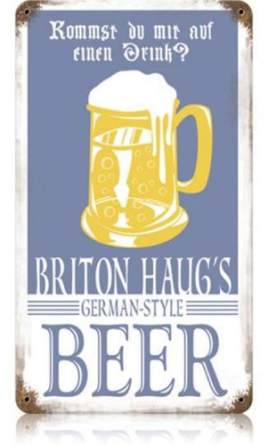 Vintage Briton Beer Metal Sign 8 x 14 Inches