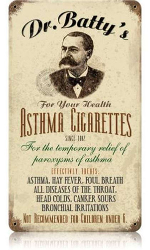 Vintage Asthma Cigs Metal Sign 8 x 14 Inches
