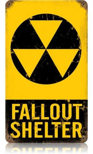 Vintage Fallout Shelter Metal Sign 12 x 18 Inches