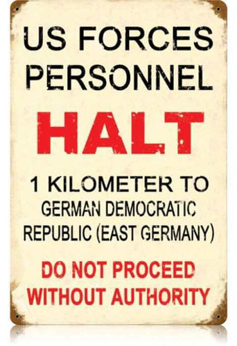Vintage US Forces Halt Metal Sign 12 x 18 Inches