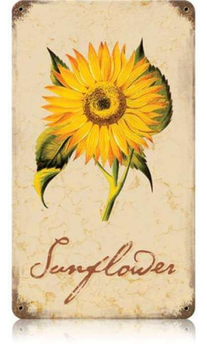 Vintage Sunflower Metal Sign 8 x 14 Inches