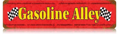 Retro Gasoline Alley Metal Sign 20 x 5 Inches