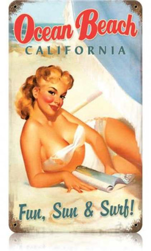 Vintage Ocean Beach  - Pin-Up Girl Metal Sign 8 x 14 Inches