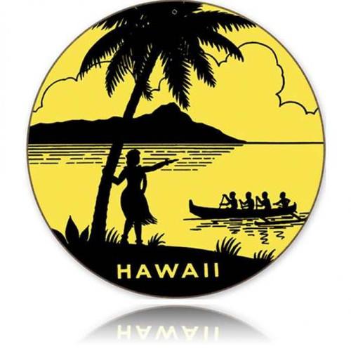 Retro Hawaii Round Round Metal Sign 14 x 14 Inches