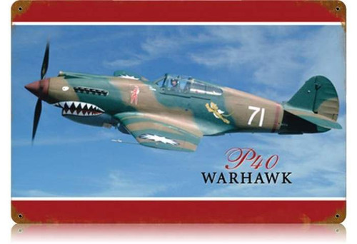 Retro P-40 Warhawk Metal Sign  18 x 12 Inches