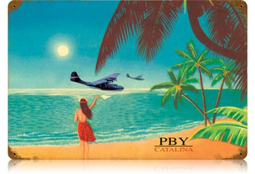Retro PBY Catalina Metal Sign  18 x 12 Inches