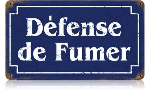 Retro Defense Fumer Metal Sign 14 x 8 Inches