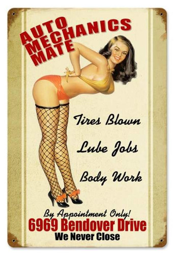 Vintage Auto Mechanics Mate  - Pin-Up Girl Metal Sign 12 x 18 Inches