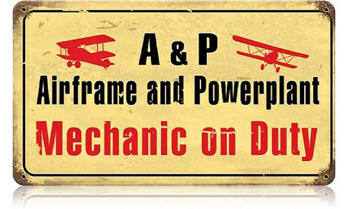 Retro Airframe Mechanic Metal Sign 14 x 8 Inches