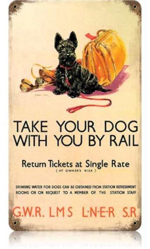 Vintage Dog by Rail Metal Sign    8 x 14 Inches