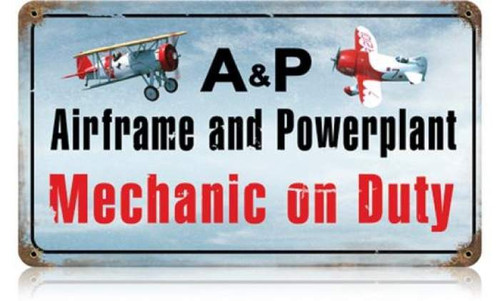 Retro Airframe Powerplant Color Metal Sign 14 x 8 Inches
