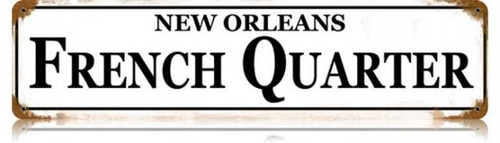 Retro French Quarter Metal Sign 20 x 5 inches