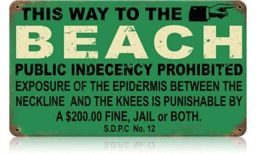 Retro Beach Indecency Metal Sign 14 x 8 Inches