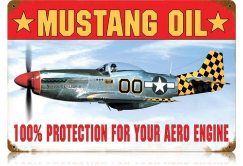 Retro Mustang Oil Metal Sign  18 x 12 Inches