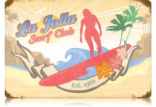 Retro La Jolla Surf Metal Sign  18 x 12 Inches