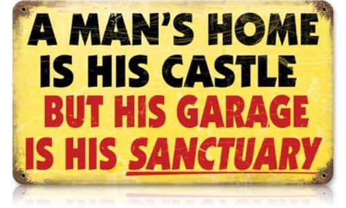 Retro Mans Home Metal Sign 14 x 8 Inches