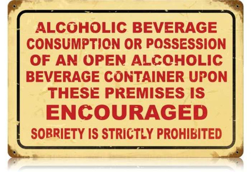Retro Drinking Encouraged Metal Sign 18 x 12 Inches