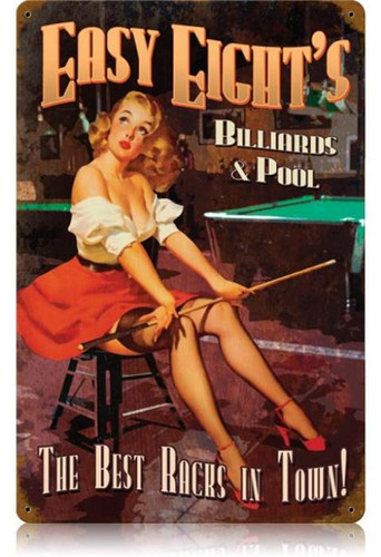 Vintage Easy Eights Pool  - Pin-Up Girl Metal Sign 12 x 18 Inches