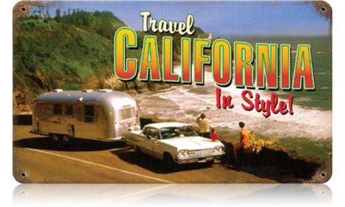 Retro Travel California Metal Sign 14 x 8 Inches