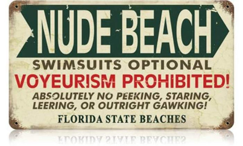 Retro Nude Beach Florida Metal Sign 14 x 8 Inches