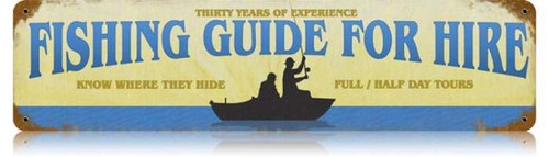 Retro Fishing Guide Metal Sign 20 x 5 inches