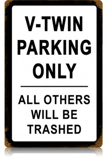 Vintage V-Twin Parking Metal Sign 12 x 18 Inches