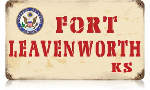 Retro Fort Leavenworth Metal Sign 14 x 8 Inches