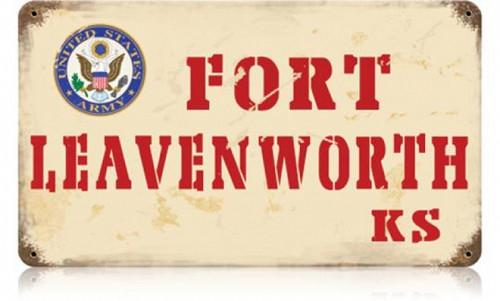 Retro Fort Leavenworth Metal Sign 14 x 8 Inches