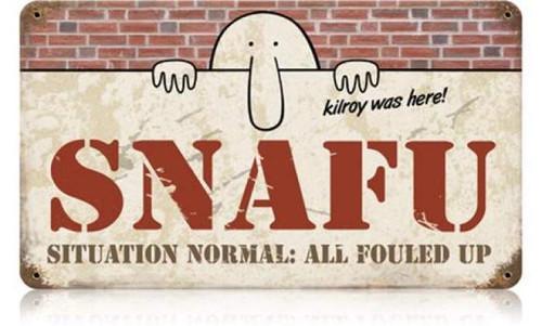 Retro Snafu Metal Sign 14 x 8 Inches