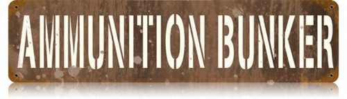 Retro Ammunition Bunker Metal Sign 20 x 5 inches