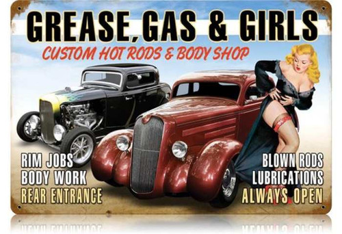 Retro Grease Gas Girls Metal Sign 18 x 12 Inches