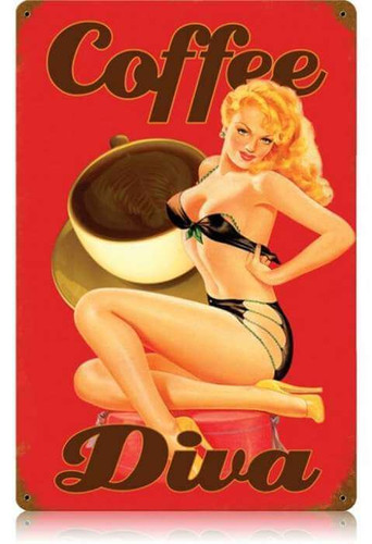Vintage Coffee Diva  - Pin-Up Girl Metal Sign   12 x 18 Inches