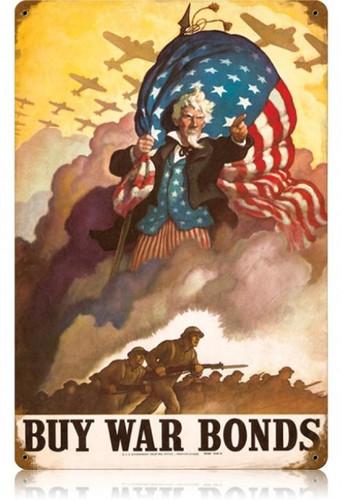 Vintage Uncle Sames Buy War Bonds Metal Sign 12 x 18 Inches