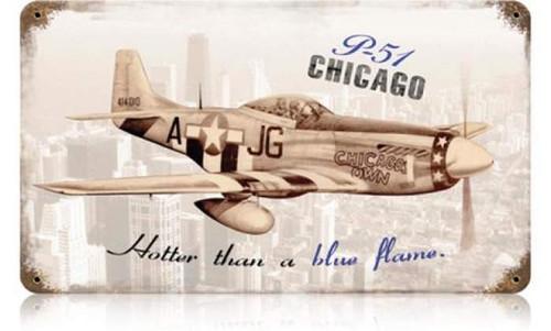 Retro P-51 Chicago Metal Sign 14 x 8 Inches