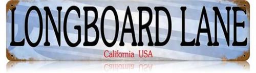 Retro Longboard Lane Metal Sign 20 x 5 inches