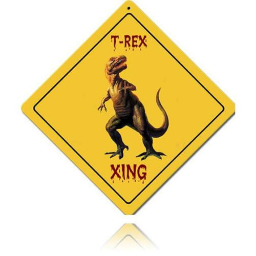 Vintage T-Rex Xing Metal Sign 12 x 12 Inches