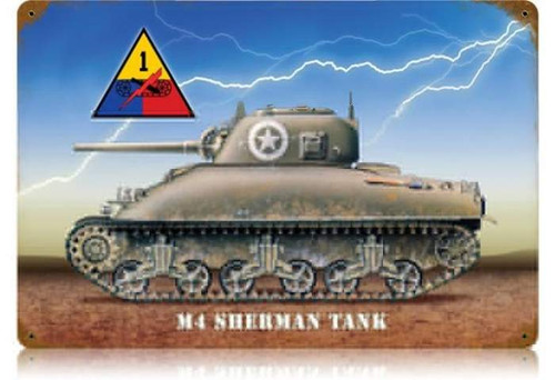 Retro Sherman Tank Metal Sign 18 x 12 Inches