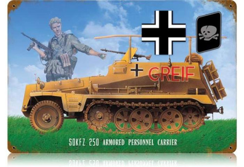 Retro Troop Carrier Metal Sign  18 x 12 Inches