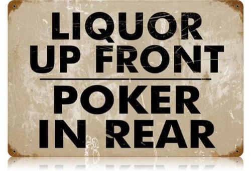 Retro Liquor Up Front Metal Sign 18 x 12 Inches