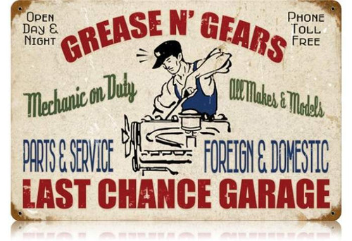 Retro Grease Gears Garage Metal Sign 18 x 12 Inches