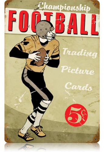 Vintage Football Metal Sign   12 x 18 Inches
