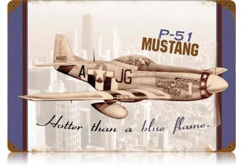 Retro P-51 Chicago Metal Sign  18 x 12 Inches