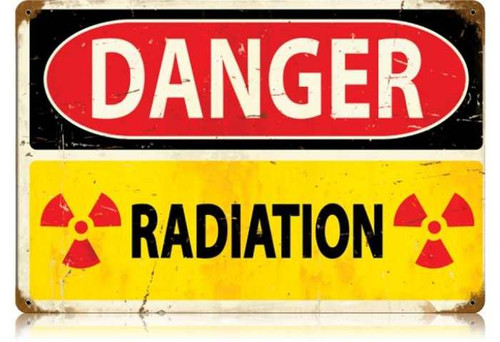 Retro Danger Radiation Metal Sign 18 x 12 Inches